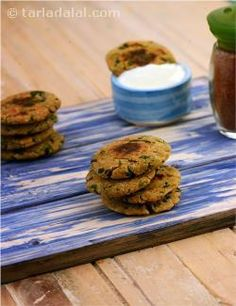 A scrumptious iron and fibre-rich snack made with fenugreek leaves and bajra flour, methi na dhebra is a hit with all age groups! served with curds, they make an ideal afternoon snack. Take my advice and make more than you think is needed!