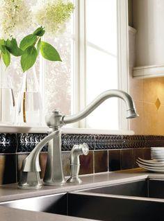Moen Kitchen Handle Chrome Faucet Drop-in Sink
