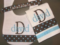 Custom Personalized Monogrammed Bib  Burp Cloth  Pacifier Clip  Gift Set LOTS of STYLES and COLORS via Etsy