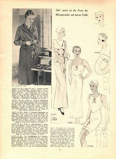 "Illustrierte Wäsche- und Handarbeits-Zeitung 1935 heft 1. Model 14380: B45"" (114 cm). Model 14355: B38"" (96 cm). Model 14381: B38"" (96 cm). Model 14382: B38"" (96 cm). Model 14383: One size. PDF sewing patterns for these models available upon request, please contact me for more information."