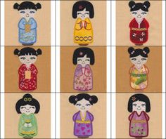 """""""Oriental Princesses Applique"""" +FREE Sample! Comes with sweet Oriental Princess designs in 2 styles each, one version features kimonos with embroidery and a version that doesn't."""