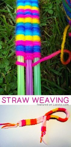 Straw Weaving — 29 of the MOST creative crafts and activities for kids! Straw Weaving — 29 of the MOST creative crafts and activities for kids! Fun Crafts For Kids, Summer Crafts, Crafts To Do, Yarn Crafts, Projects For Kids, Art For Kids, Arts And Crafts, Kids Diy, Creative Activities For Kids
