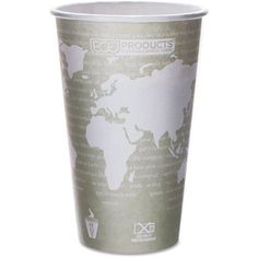 Eco-Products World Art Renewable/Compostable Hot Cups, 16 oz, Moss, 50/Pack, Green