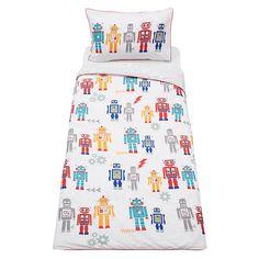 Buy little home at John Lewis Robots Duvet Cover and Pillowcase Set, Single Online at johnlewis.com