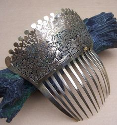 Antique Hair Comb Georgian or Early Victorian Fire Gilt Pierced by DragonsLairVintage $200