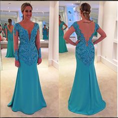 Classy V-neck Prom Dresses,Floor Length Prom Dresses,Party Dresses With Long Sleeves