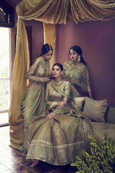 "sabyaasachi: """"Manvitha Mallela, Aditi Rao Hydari & Ravyanshi Mehta for Vogue India Designer: Sabyasachi Mukherjee "" "" Indian Bridal Fashion, Indian Bridal Wear, Indian Wedding Outfits, Pakistani Bridal, Bridal Outfits, Bridal Lehenga, Indian Wear, Indian Outfits, Vogue Wedding"