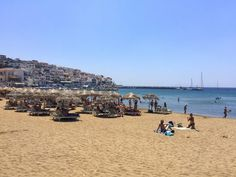 The main beach of Batsi, located on Andros in the Greek Islands