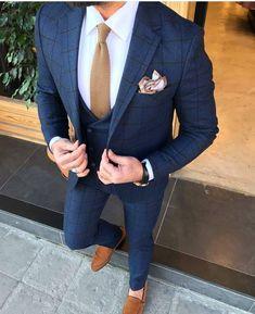 Collection: Spring – Summer 19 Product: Slim-Fit Suit Size: Suit Material: viscose, polyester Fitting: Slim-Fit Cutting: Double Slits, Double Button Package Include: Jacket, Vest and Pants Blue Plaid Suit, Blue Suit Men, Dress Suits, Men Dress, Costumes Bleus, Suit Combinations, Mode Costume, Checked Suit, Designer Suits For Men