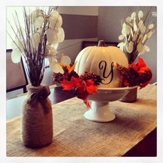 I'm going to try to do this pumpkin with a Dollar Tree pumpkin and spray paint...beware...I'm gonna get crafty!!