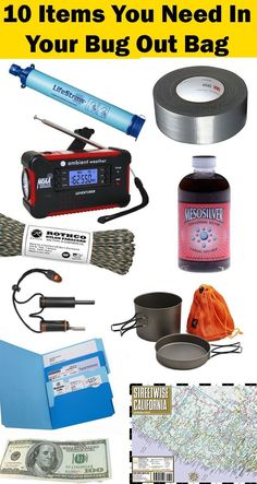 Top 10 Bug Out Bag List Emergency Essentials You Don't Want To Be Without - Trend Topics Ideas Survival Supplies, Survival Items, Emergency Supplies, Survival Food, Homestead Survival, Wilderness Survival, Camping Survival, Survival Prepping, Survival Skills