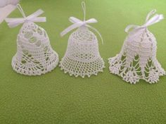 Beautiful Crochet bells, set of 3 x and 1 x bells, - Salvabrani Crochet Christmas Ornaments, Christmas Crochet Patterns, Holiday Crochet, Christmas Bells, Thread Crochet, Filet Crochet, Crochet Stitches, Knit Crochet, Crochet Snowflake Pattern
