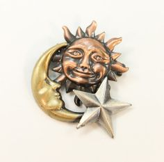 Luck Mojo Vinatge Sun Moon and Star Broach Pin in by CacheAvenue, $16.00