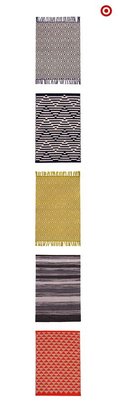 Area rugs are a best bet for an effortless way to add pattern to your living room. Start with a classic stripe or diamond pattern in neutral colors, like black and white. It'll help add texture and warmth but won't overwhelm the space. And you can always work your way up to a bold red or mustard in modern, graphic prints.