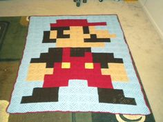 Great idea - google perler bead patterns, then crochet granny squares to create blankets of any characters!