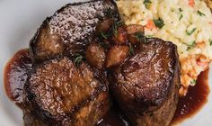 Sauteed Beef Medallions with Pearl Onion Red Wine SauceRecipe provided by Certified Ang Beef Medallions, Entree Recipes, Meat Recipes, Cooking Recipes, Braiser Recipes, Catering Recipes, Beef Dishes, Food Dishes