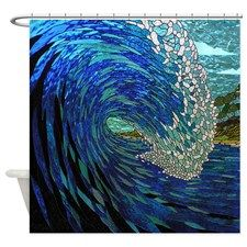 Stained Glass Wave Shower Curtain