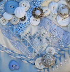 Awesome crazy quilt squaer with vintage button embellishments.