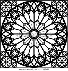silhouette rose window/ gothic/ vector illustration - stock vector