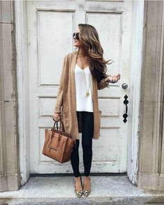 Long tan cardigan, leopard print shoes, brown leather bag