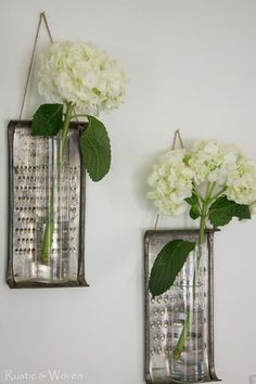 Vintage graters are repurposed as glass bud vases   Rustic & Woven