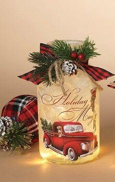 New Holiday Magic Christmas VINTAGE RED TRUCK LIGHTED JAR Luminary Lamp Light  #Gerson Christmas Red Truck, Christmas Art, Christmas Holidays, Christmas Decorations, Christmas Ornaments, Led Christmas Lights, Christmas Mason Jars, Victorian Christmas, Vintage Christmas