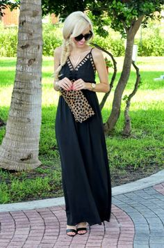 Windsor Black Caged Edge Maxi Cami Dress