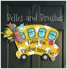 https://www.facebook.com/bellesandbrushes  School Bus Door Hanger