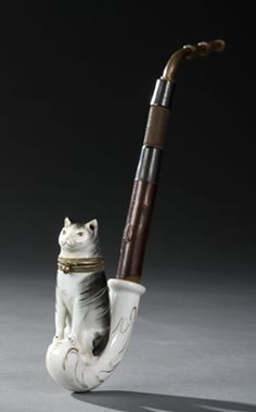 German Porcelain Figural Cat Tobacco Pipe, - Cowan's Auctions
