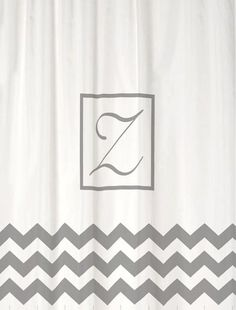 Shower Curtain White and Chevron with Cool Gray Accents 69x70 Monogrammed Personalized Custom for Your Bathroom
