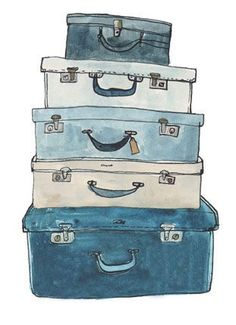 Suitcases illustration by Fiona Purves//