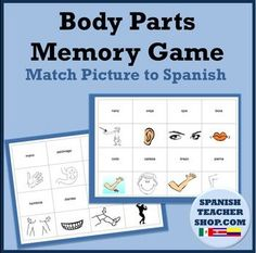 Play a game of Memory or have students cut out flashcards for parts of the body in Spanish vocabulary. (Partes del Cuerpo) 2 sheets. Match the picture to the Spanish word. 16 words- 16 pictures. This lesson is ready to use! Make a copy, have students play a quick game for