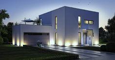 Kern-Haus Bauhaus Novum Eingangsseite Abendansicht