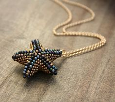 Beaded Starfish Necklace in Shades of Old Gold by lamaisondefloria