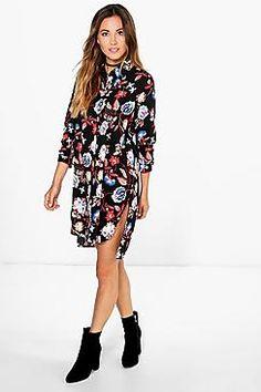 Nikole Floral Shirt Dress Floral Shirt Dress, Long Shirt Dress, Floral Print Shirt, White Floral Dress, Floral Dresses, Day Dresses, Dresses For Sale, Boohoo Dresses, Dress Collection