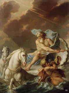 Neptune. 18th.century.  Jeaurat Etienne. French.1699-1789. oil on canvas.