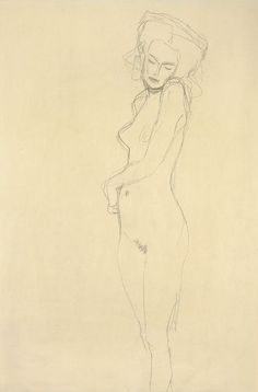 Gustav Klimt / Drawings 2 / Etwas nach links stehender Akt 1907