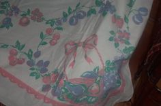 Vintage Tablecloth Bows,cherries,strawberries,pink blue Cottage Chic 50s Spring