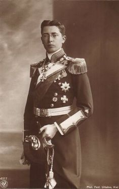 Prince Waldemar of Prussia (Waldemar Wilhelm Ludwig Friedrich Viktor Heinrich) (1889  –  1945) was the eldest son of Prince Henry of Prussia & his wife, Princess Irene of Hesse & by Rhine. Prince Waldemar, like his first cousin, Tsarevich Alexei Nikolaevich of Russia; uncle Prince Friedrich of Hesse and by Rhine; and youngest brother Heinrich, suffered from haemophilia. He died in a clinic in Tutzing, Bavaria because of the lack of blood transfusion facilities.