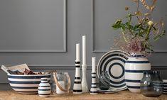 Omaggio Vasen, Schalen und Kerzenhalter aus Keramik und Glas in Stahlblau - Kähler Design