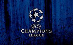 Download wallpapers UEFA Champions League, 4k, logo, grunge, blue background, UEFA Champions League logo