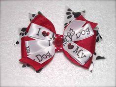"The Pink Barrette, LLC - ""I Love My Dog"" Hair Bow, $5.49 (http://www.thepinkbarrette.com/i-love-my-dog-hair-bow/)"