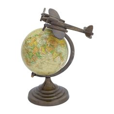 Designer Aluminium Globe with Round Base & Brass Furnish. Features: Made from high quality aluminium. Metal airplane at the end of the axis. Terrain map of the world. Home Decor Accessories, Decorative Accessories, Transportation Room, Loft Kitchen, Thing 1, Modern Light Fixtures, English Style, Luxury Home Decor, Joss And Main
