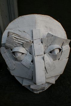 Cardboard Mask by Dax Tran-Caffee, Cardboard Costume, Cardboard Mask, Cardboard Sculpture, Cardboard Crafts, Sculpture Head, Lion Sculpture, Masks Art, Clay Masks, Paper Mask