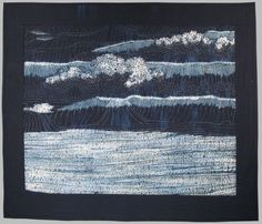 Hand dyed shibori cottons in indigo, whole cloth, underpainted with fiber reactive dyes, hand quilted with sashiko stitches.