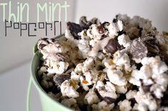Thin Mint Popcorn | •10 cups popped popcorn •5 blocks of vanilla almond bark •½ teaspoon peppermint extract (it's strong stuff!) •20 thin mints, crushed 1.Melt almond bark. 2.Once melted, remove and stir in peppermint extract. 3.Pour mixture over popcorn and stir until fully coated. 4.Next, add crushed thin mints and stir until combined. 5.Cool on wax paper.