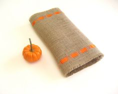 Natural Burlap Table Runner with Orange Satin by Wonders4You, $24.00