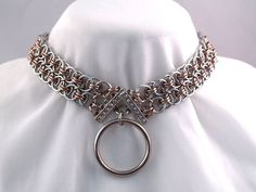 Chainmaille Choker with steel O-Ring in Silver and Champange