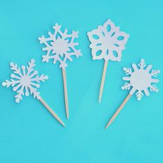 Snowflake Cupcake Toppers Winter Onederland by PaperPartyParade