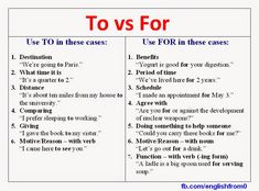 English for beginners: To vs For